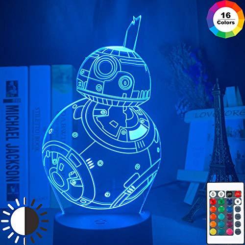 3D Illusion Lampe Led Veilleuse Cool Bb8 Robot Décor À La Maison Cool Cadeau De Noël Pour Ami Enfants Chevet Star Wars