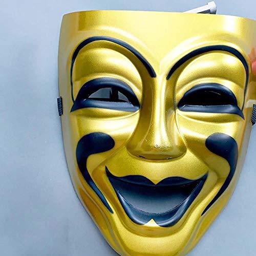 iaoyueyishangmaoyouxiango Halloween Männlichen Tanz Parteien Gesicht Smiley Maske Maske Weinen | Lachen Gott - Goldene X2