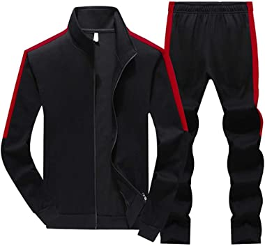 Men's Tracksuit Set, Casual Man Jacket Set Sports Pants Suit Two-Piece High Neck Sportswear Long Sleeve Spring Athletic