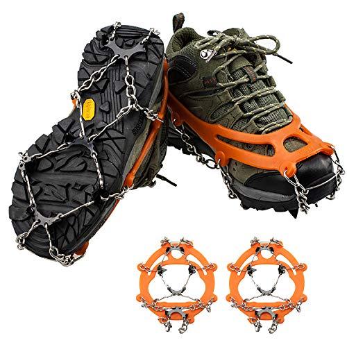 QH-shop Crampones con Cadena de Acero Inoxidable 8 Dientes de Manganeso de Aleación para Montaña Acampada Senderismo Alpinismo Naranja