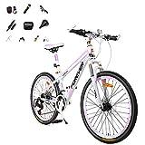 "Bicicleta De Montaña De 24-26""Con 10 Piezas,Rueda De 3 Cuchillas Bicicleta Carretera Para Niñas 24 Velocidad Viene Con Linterna Gafas Montar Freno Mecánico Doble Bicicletas Montaña Mujer,Rosa,A,24"""