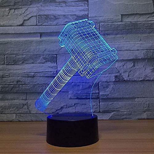 3D LED Illusionslampe mit der Thor Hammer Form LED 7 Farben 3D Nachtlichter als Home Decorations Lights