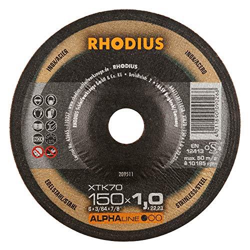Rhodius XTK70 - Discos de corte extra finos para amoladora angular (metal, 150 mm de diámetro, 25 unidades)