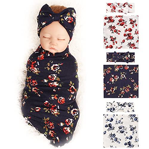 BQUBO - Mantas para recién nacidos con diseño floral para bebé, para envolver pañales para bebé, saco de dormir para niños pequeños, regalo de ducha caliente, paquete de 3