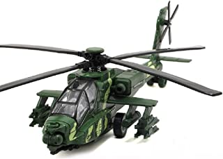 CORPER TOYS Army Helicopter Diecast Military Attack Plane with Lights and Sounds Pullback Toy for Kids Boys (Green)