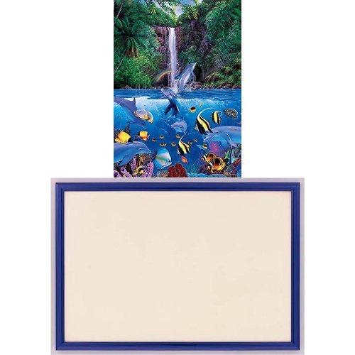 1000ピース ジグソーパズル ラッセン エターナル レインボー シーIV ベリースモールピース 【光るパズル】(38x53cm)+木製パズルフレーム ウッディーパネルエクセレント シャインブルー (38x53cm)