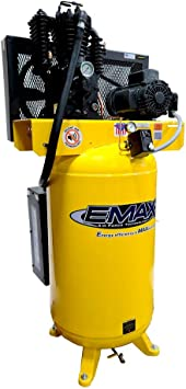 5 HP Quiet Air Compressor, 1PH, 2-Stage, 80-Gallon, Vertical, EMAX Yellow, Industrial Series, Model ES05V080I1 by EMAX Compressor: image