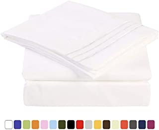 MEROUS 4 Piece Bed Sheet Set with Deep Pocket - Soft Brushed Microfiber Bedding Sheets - Wrinkle, Fade, Stain Resistant - Queen, White