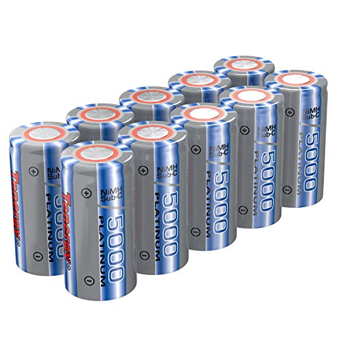 Tenergy NiMH SubC 5000mAh Flat Top Rechargeable Battery (No Tabs) - 10 Pack