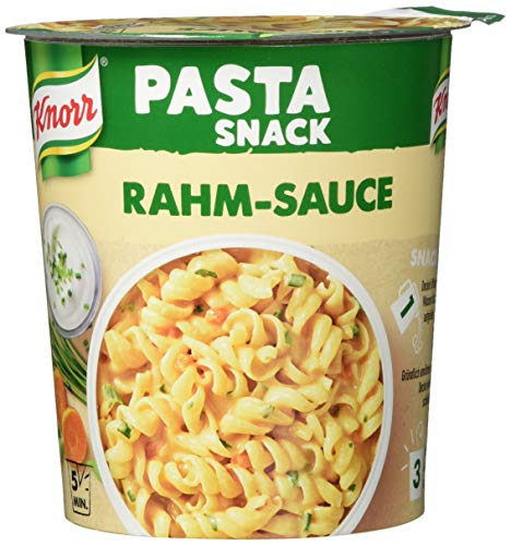 Knorr Snack Bar Pasta Snack ,Nudeln in Rahm-Sauce, 8er Pack (8 x 69 g)