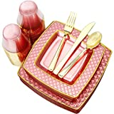 Nervure 150PCS Pink with Gold Sqaure Plastic Plates & Gold Silverware Set:25 Dinner Plates 9.5 ',...
