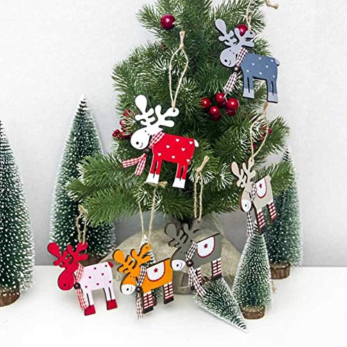 SJSLSJSL Crutches, Wooden Deer Elk Xmas Pendant,Christmas Tree Decoration Hanging Pendant Tags (Candy Crutch(6pcs in 1))
