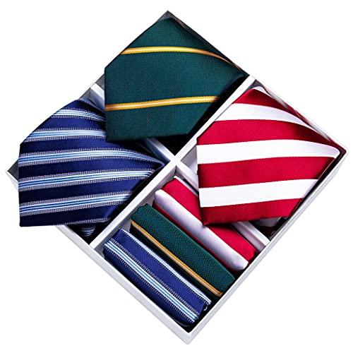 WODMB Necktie Set 3 Pack Hombres Rayas Red Blue Tie Tie Caja de regalo 8cm Negocio Boda Jacquard Tejido Silk Neckptie Pañuelo (Color : Striped Red Blue Green, Size : One size)