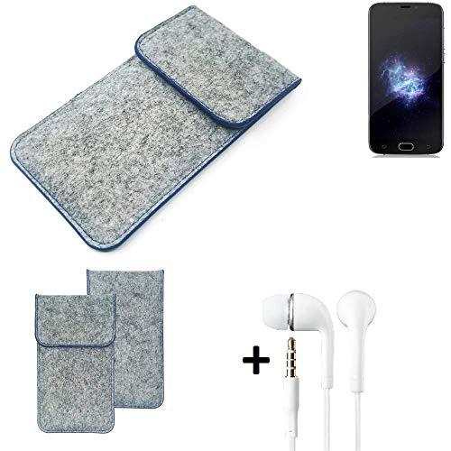 K-S-Trade Filz Schutz Hülle Für Doogee X9 Pro Schutzhülle Filztasche Pouch Tasche Handyhülle Filzhülle Hellgrau, Blauer Rand + Kopfhörer