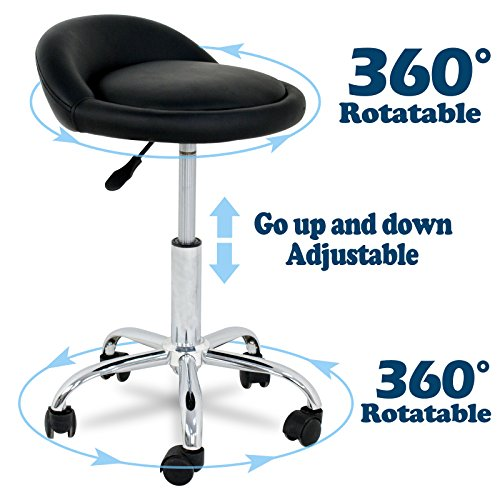 SUPER DEAL Adjustable Height Hydraulic Rolling Swivel Stool Tattoo Facial Massage Spa Salon Medical Stool with Back Rest (Black)