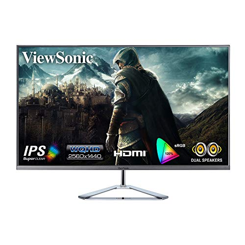 ViewSonic VX3276-2K-MHD (32 Inch) 2K Resolution 1440p, IPS Panel, Frameless Monitor, HDMI, DisplayPort & Mini DP, Refresh Rate 75 Hz, Flicker-Free and Blue Light Filter