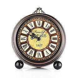 5.5 Metal Antique Table Clock, Vintage Silent&Non-Ticking Alarm Clock, Retro Loud Desk Clock for Kids Bedroom Living Room Decoration (03)
