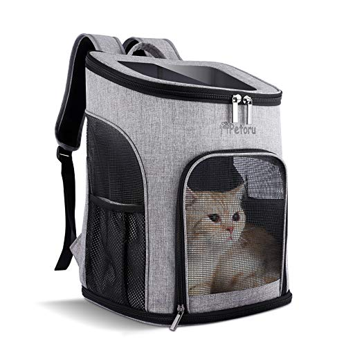 Petoru 猫 キャリー バッグ ペットキャリーバッグ ペットバッグ 小型猫・犬用 キャリーリュック 肩掛け 透明窓つき 通気性よい お出かけ 旅行 散歩など 折りたたみ(グレー)