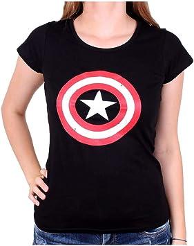 Horror-Shop Capitán América Camiseta de Las señoras El Escudo ...