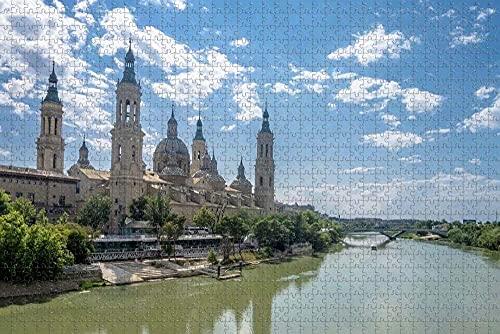 HRUIO Rompecabezas Puzzle 500 PiezasCatedral de Zaragoza, EspañaPuzzle de 500 Piezas para Adultospara Adultos y niños a Partir de 8 añosJuguete Regalo para Niños Adultos-52*38cm