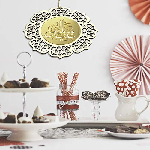 BRANDNEWS Eid al-Fitr decoratieve hanger - houten slinger met gespiegelde gouden bloemenhanger Beautiful
