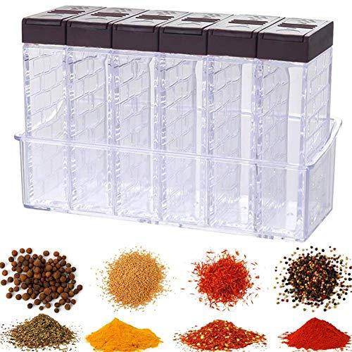 Caja de Especias Cocina,Juego de 6 Salero y Pimentero,Spice Rack - Botellas de Plástico Transparente, Caja de Plástico para Condimentos de Camping (café)