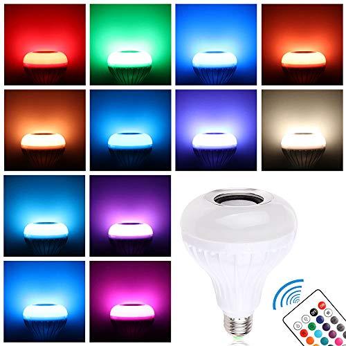 Winbang Bombilla Altavoz Bluetooth, E27 7W Música LED RGBW Luz de Altavoz Cambia de Color Lámpara con Mando a Distancia, Hogar Fiesta Navideñas Decoraciones(1Pc)