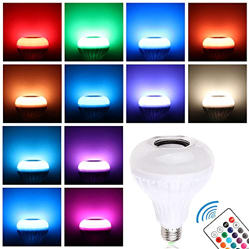 Winbang Bombilla Altavoz Bluetooth, E27 7W Música LED RGBW Luz de Altavoz Cambia de Color Lámpara con Mando a Distancia, Hogar Fiesta Navideñas Decoraciones (1Pc)