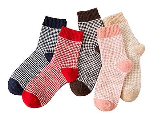 Black Temptation Hound Tooth Check Pattern 5 Paar weiche Dicke Socken für Frauen