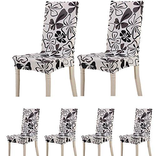 Lot de 6housses de protection pour chaises TEERFU - En Élasthanne - Amovibles et...
