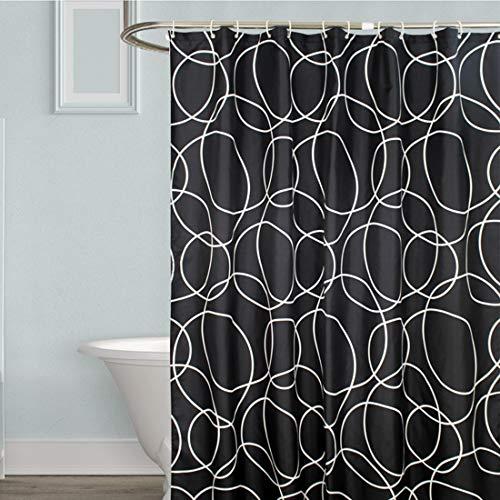 YISHU Top Qualität Duschvorhang Wasserdicht Anti-Schimmel Stoff inkl. 12 Duschvorhangringe für Badezimmer Schwarz 240x200cm