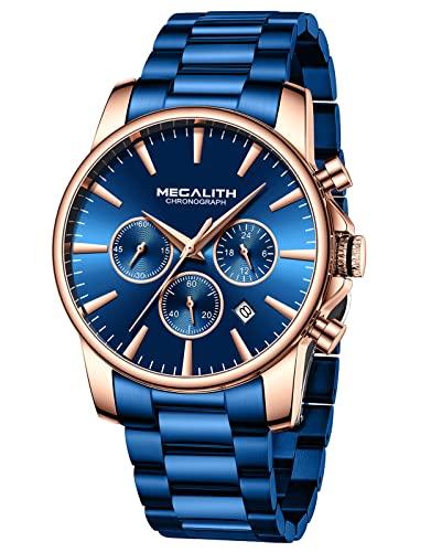 MEGALITH Uhren Herren Edelstahl Herrenuhr Chronograph Blau Zifferblatt Armbanduhr Herren Analog Leuchtend Datum Elegant Design Geschenke für Männer - Blau