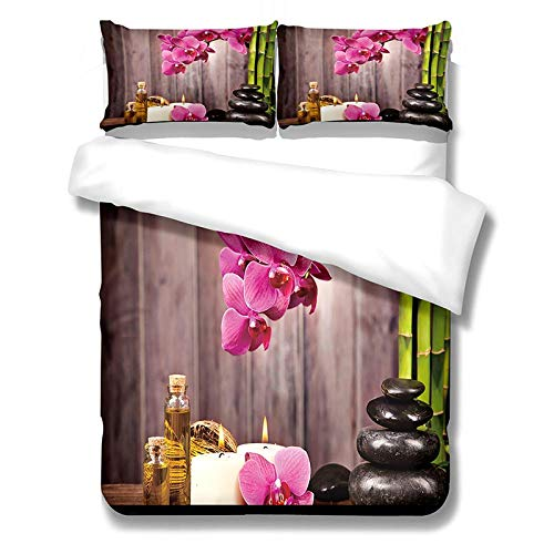 GYUSGT Single Quilt Duvet Cover Set,Flowers and candles Printed Bedding Set,3pcs with Zipper Closure in Polyester,1 Quilt Cover 2 Pillowcases,for Teens Adults,-53.1'x79'/135cm(W) x200cm(H)