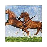 COOSUN Reloj de pared con dos caballos Frolic On The Plain silencioso, acrílico no pinchazos, 20 cm, cuadrado decorativo para el hogar, oficina, cocina, dormitorio, sala de estar