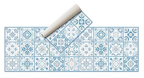 Alfombra Vinílica Hidráulica (180 x 60 cm, Azul) - Distintos Colores y tamaños - Alfombra Cocina, baño, salón Comedor - Antideslizante - Alfombra Dormitorio - Goma esponjosa y Suelo PVC