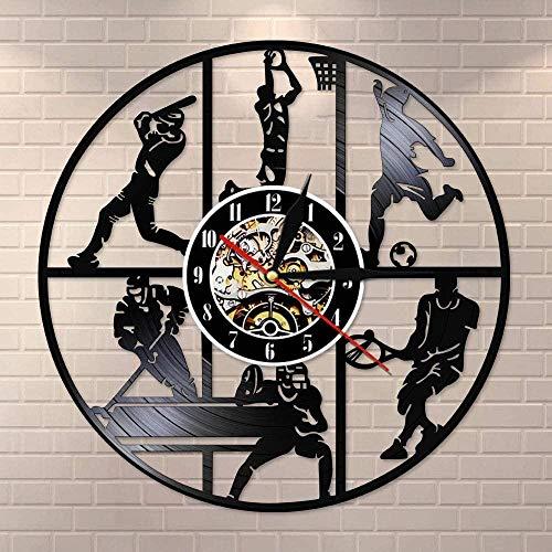 YDDLIE Béisbol Baloncesto Fútbol Hockey Fútbol Tenis Juego de Pelota Disco de Vinilo Reloj de Pared Habitación Infantil Arte de Pared Deportivo