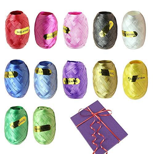 12 Rollos Cinta Regalo, 5 mm x 10 m Metálica Cinta Globos, Varios Colores,Cinta Navidad para Fiesta, Floristería, Manualidades, Regalo, Decoración de Tartas
