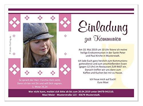 Kommunioneinladungen für Mädchen schön edel - mit FOTO (oder ohne) - Wunschtext, 100 Karten in 17 x 12 cm groß