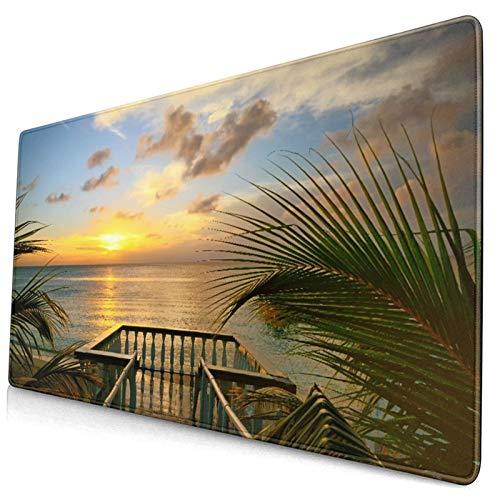 Custom Office Mauspad,Der Blick von den Terrassen des schönen Sonnenunte,Anti-Rutsch-Gummiunterseite Gaming-Mauspad-Matte Schreibtisch-Dekor 15,8 'x 29,5'