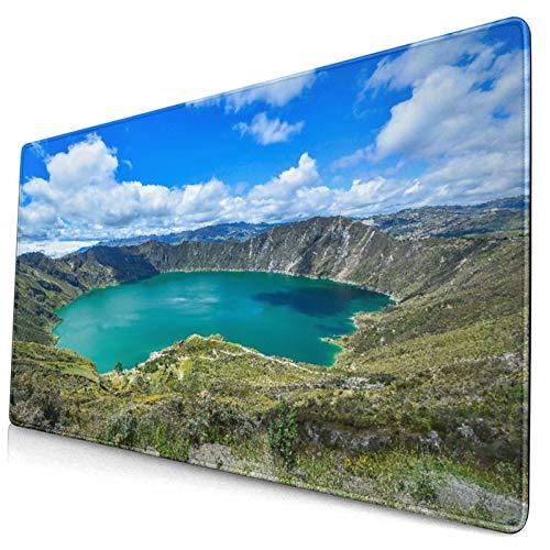 LASINSU Alfombrilla Gaming,Quilotoa Ecuador Lagoon Volcano Turquoise Wate,con Base de Goma Antideslizante,750×400×3mm