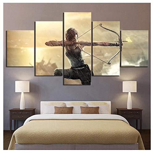 ZKPWLHS ImpresionessobreLienzo Póster del Juego De 5 Piezas Tomb Raider Impresión HD Cuadros Modulares Arte De La Pared Decoración para El Hogar Pinturas (B) con Marcos
