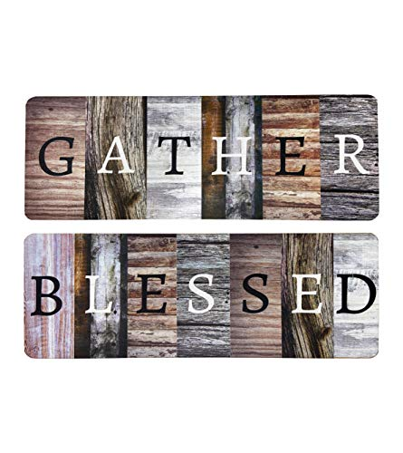 """Rustic Farmhouse Gather Blessed Home Decor Sign - Solid Wood 17"""" x 6"""" Inspirational Wall Art Signs For Living Room, Dining Room, Kitchen, and Home"""