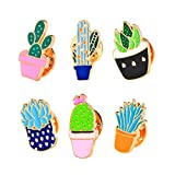 Ever Fairy simpatico spilla smaltata set-cartone animato spilla animali spilla spille pin spille per borse zaini per le donne ragazze adolescenti bambini kawaii (Cactus Set di 6)