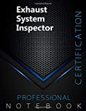 """Exhaust System Inspector Certification Exam Preparation Notebook, examination study writing notebook, Office writing notebook, 140 pages, 8.5"""" x 11"""", Glossy cover, Black Hex"""