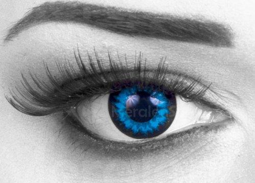 Blue Crystal Farbige Funnylens Crazy Fun Kristallblau blau Kontaktlinsen perfekt zu Fasching, Karneval Halloween Anime Manga oder zum Alltag mit gratis Behälter und 60ml Pflegemittel Topqualität zu jedem Event geeignet.
