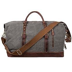 S-ZONE Reisetasche Größere Version Vintage Canvas Leder Trim Unisex Handgepäck Weekender Tasche Sporttasche für Reise Wochenende Urlaub