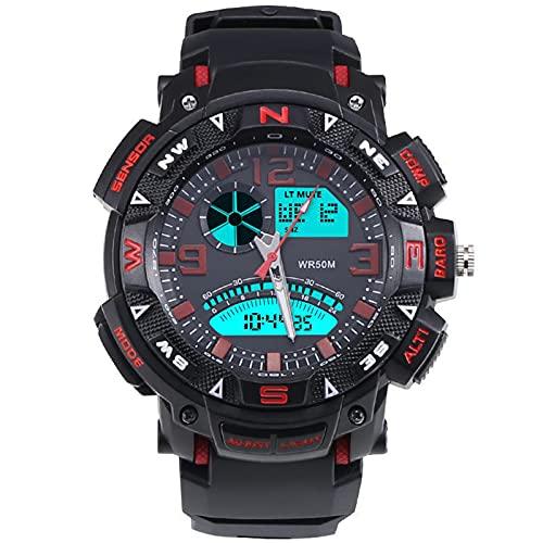 Reloj electrónico Deportivo Luminoso Impermeable Running Men's Watch Moda Estudiante Reloj Electrónico Red
