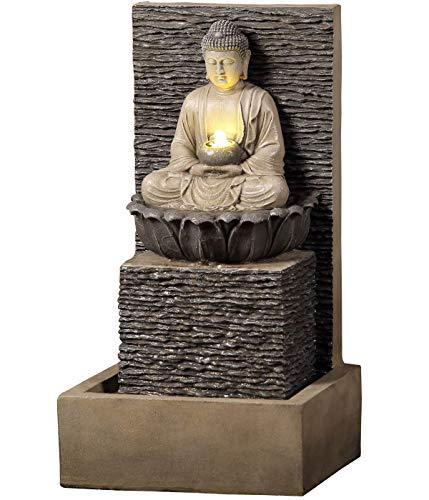 Dehner Gartenbrunnen Buddha mit LED Beleuchtung, ca. 64 x 35 x 32 cm, Polyresin, braun