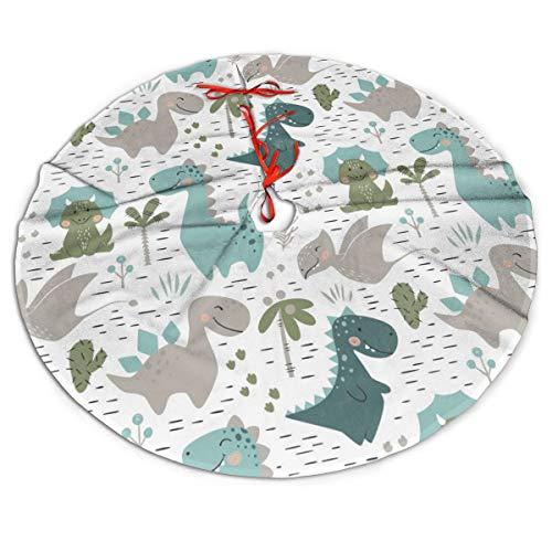 GOWINEU 30 Inch,Christmas Tree Skirt Dinosaur Carpet Apron Festive Decor for Party, Round