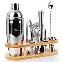duerer cocktail shaker set, kit da barista con supporto, set da 11 pezzi per cocktail shaker con elegante supporto in bambù, bonus ricette esclusive